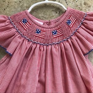 4th of July American flag smocked baby dress
